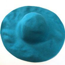 Turquoise Blue Wool Felt Milliner's Capeline Hat Blank